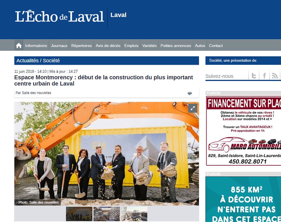 Espace Montmorency : début de la construction du plus important centre urbain de Laval