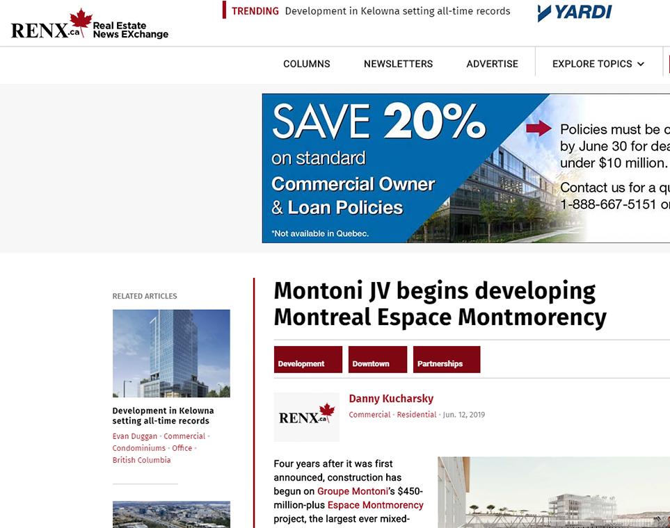 Montoni JV begins developing Montreal Espace Montmorency
