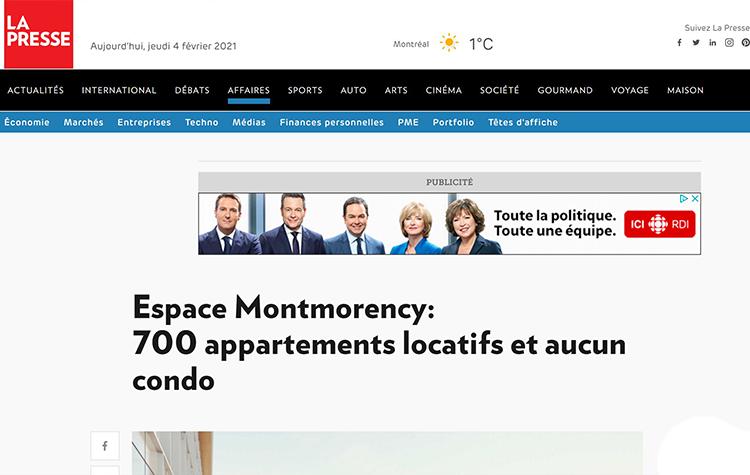 Espace Montmorency: 700 appartements locatifs et aucun condo