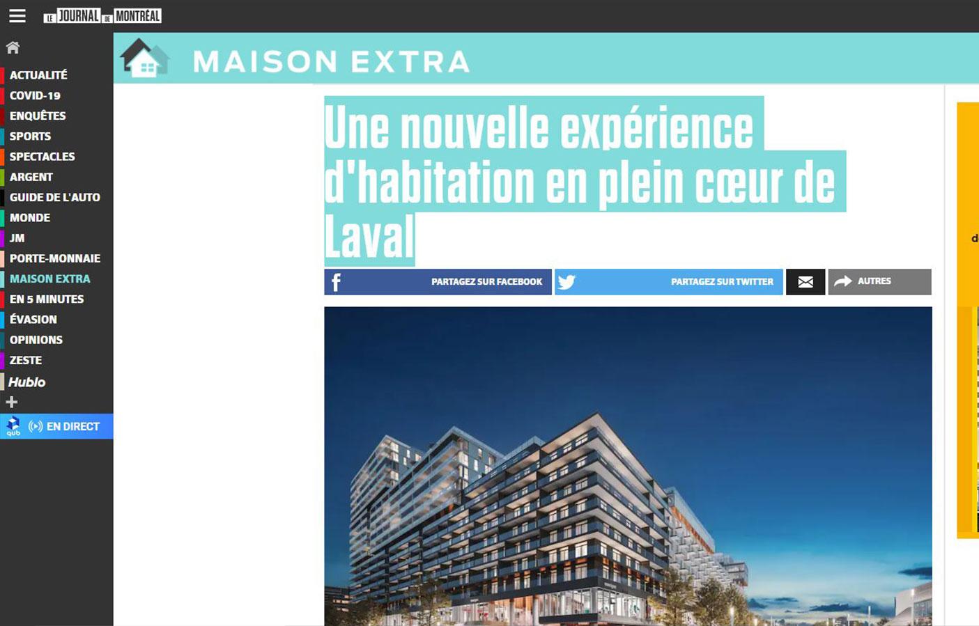 Une nouvelle expérience d'habitation en plein cœur de Laval