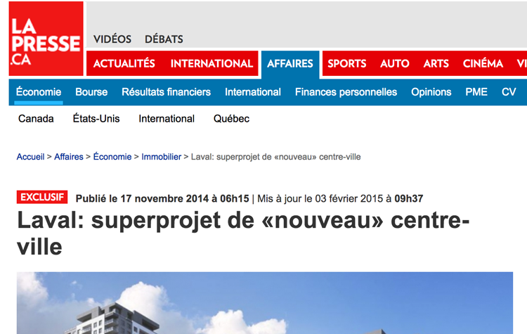 Superprojet de 420 millions à Laval